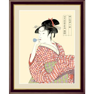 絵画 高精細デジタル版画 インテリア 壁掛け 額縁付き 美人画 喜多川 歌麿作 「ビードロを吹く娘」 F4|touo