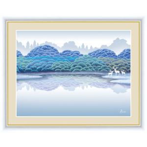 絵画 高精細デジタル版画 インテリア 壁掛け 額縁付き 竹内 凛子作 「湖畔雨後」 写真立て仕様|touo