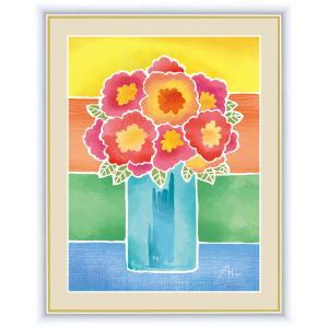 絵画 高精細デジタル版画 インテリア 壁掛け 額縁付き 春田 あかり作 「赤い花の花瓶」 F4 touo