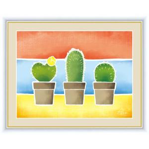 絵画 高精細デジタル版画 インテリア 壁掛け 額縁付き 春田 あかり作 「サボテンの鉢植え」 写真立て仕様 touo