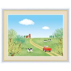 絵画 高精細デジタル版画 インテリア 壁掛け 額縁付き 喜多 一作 「牧場」 写真立て仕様|touo