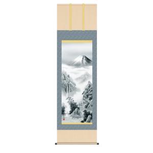 掛け軸 高精細巧芸画 純国産掛け軸 山水画 有馬 荘園 「富士憧憬」 尺五|touo