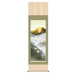 掛け軸 高精細巧芸画 純国産掛け軸 山水画 有馬 荘園 「金富士飛翔」 尺五|touo