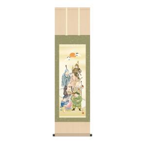 掛け軸 高精細巧芸画 純国産掛け軸 縁起画 緒方 葉水 「七福神」 尺三|touo