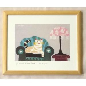 絵画 インテリア アートポスター 壁掛け ヨーロッパ製 (額縁 アートフレーム付き) 八ッ切サイズ -16-特価-|touo
