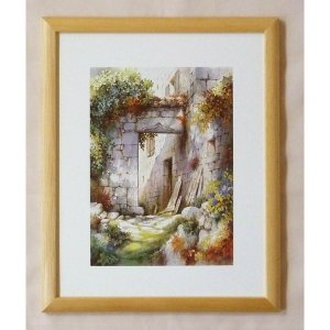 絵画 インテリア アートポスター 壁掛け ヨーロッパ製 (額縁 アートフレーム付き) 八ッ切サイズ -6-特価-|touo