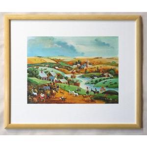 絵画 インテリア アートポスター 壁掛け ヨーロッパ製 (額縁 アートフレーム付き) 四ッ切サイズ -1-特価-|touo