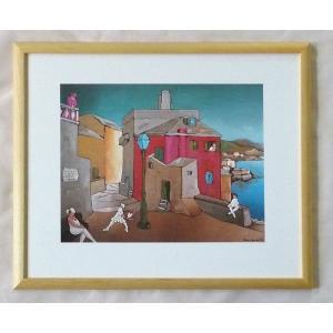絵画 インテリア アートポスター 壁掛け ヨーロッパ製 (額縁 アートフレーム付き) 四ッ切サイズ -21-特価-|touo