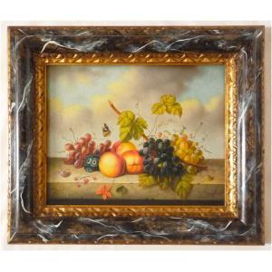 ヨーロッパ絵画 肉筆油絵 額縁付き 24X30 マッフェイ作 「静物」3-新品-特価- touo
