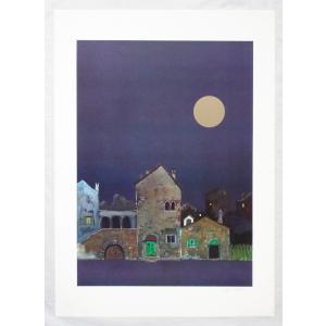 ヨーロッパ製 メタリックアートポスター リベラ「イタリアの夜」 シ−トサイズ50X70cm 額縁付きで納品対応可|touo