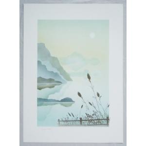 ヨーロッパ製 メタリックアートポスター サヴェリ「夜明けの湖」 シ−トサイズ50X70cm 額縁付きで納品対応可|touo