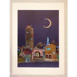 ヨーロッパ製 メタリックアートポスター リベラ「静かな村」 シ−トサイズ50X70cm 額縁付きで納品対応可|touo