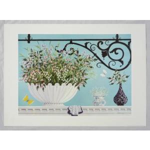 ヨーロッパ製 メタリックアートポスター ギャラン「バルコニーの花」 シ−トサイズ50X70cm 額縁付きで納品対応可|touo