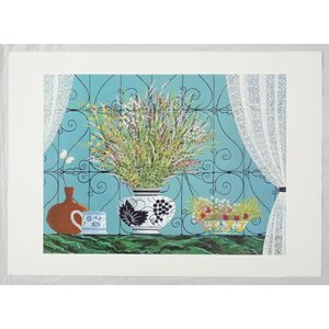 ヨーロッパ製 メタリックアートポスター ギャラン「窓辺の花」 シ−トサイズ50X70cm 額縁付きで納品対応可|touo