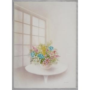 ヨーロッパ製 メタリックアートポスター オッチーニ「テーブルの花」 シ−トサイズ50X70cm 額縁付きで納品対応可|touo