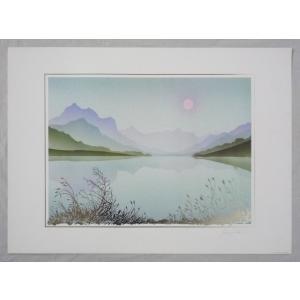 ヨーロッパ製 メタリックアートポスター サヴェリ「湖畔1」 シ−トサイズ50X70cm 額縁付きで納品対応可|touo