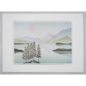 ヨーロッパ製 メタリックアートポスター サヴェリ「湖畔2」 シ−トサイズ50X70cm 額縁付きで納品対応可|touo