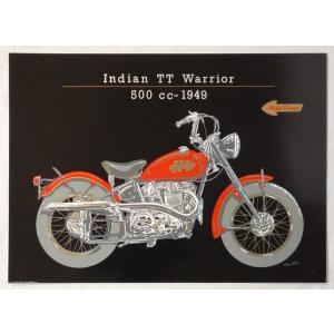ヨーロッパ製 メタリックアートポスター 「インディアン バイク ウォリアー」 シ−トサイズ50X70cm 額縁付きで納品対応可|touo