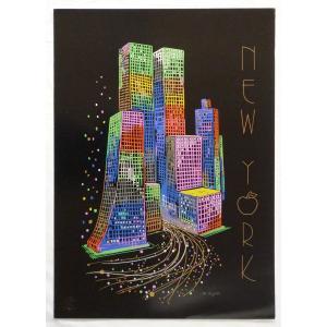ヨーロッパ製 メタリックアートポスター アンジェリノ「ニューヨーク」-2 シ−トサイズ50X70cm 額縁付きで納品対応可|touo