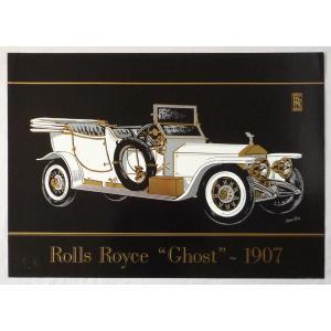 ヨーロッパ製 メタリックアートポスター 「クラシックカー ロールスロイス ゴースト」 シ−トサイズ50X70cm 額縁付きで納品対応可|touo