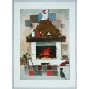 ヨーロッパ製 メタリックアートポスター ジオルジィ「暖炉の猫」 シ−トサイズ50X70cm 額縁付きで納品対応可|touo