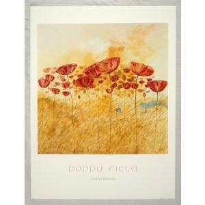 ヨーロッパ製 メタリックアートポスター A.Boering「Poppy Field」 シ−トサイズ60X80cm 特価|touo