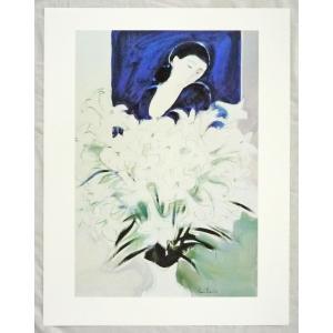 ヨーロッパ製アートポスター ブラジリエ作「白百合」 シ−トサイズ60X77cm 特価|touo