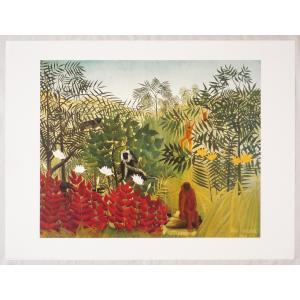 ヨーロッパ製アートポスター ルソー作 「ジャングル」1246 シ−トサイズ60X80cm 特価|touo