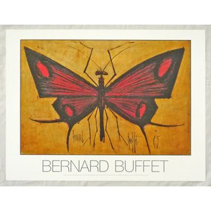 ヨーロッパ製アートポスター ビュッフェ作「赤い蝶」 CA29 シ−トサイズ60X80cm 特価|touo
