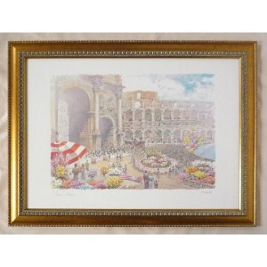 絵画 インテリア アートポスター 壁掛け ヨーロッパ製 (額縁 アートフレーム付き) シートサイズ50X70cm -7-特価-|touo