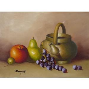 肉筆絵画 油絵 F4号 「果物静物」-1- 特価|touo