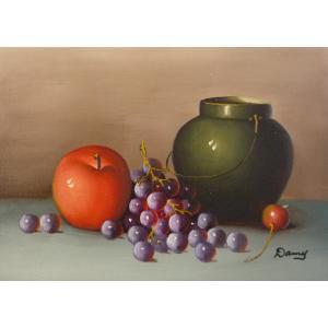 肉筆絵画 油絵 F4号 「果物静物」-10- 特価|touo