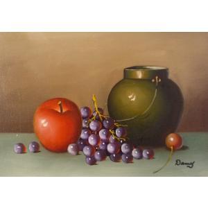 肉筆絵画 油絵 F4号 「果物静物」-12- 特価|touo