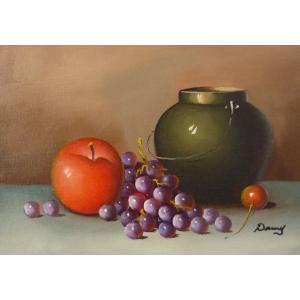 肉筆絵画 油絵 F4号 「果物静物」-16- 特価|touo