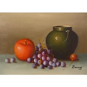肉筆絵画 油絵 F4号 「果物静物」-20- 特価|touo