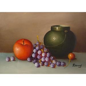 肉筆絵画 油絵 F4号 「果物静物」-21- 特価|touo