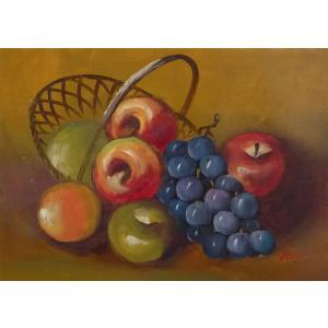 肉筆絵画 油絵 F4号 「果物静物」-3- 特価|touo