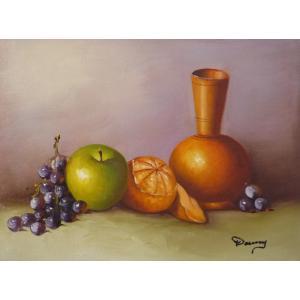 肉筆絵画 油絵 F4号 「果物静物」-4- 特価|touo