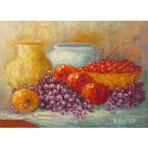肉筆絵画 油絵 F4号 「果物静物」-8- 特価|touo