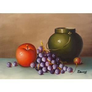 肉筆絵画 油絵 F4号 「果物静物」-33- 特価|touo