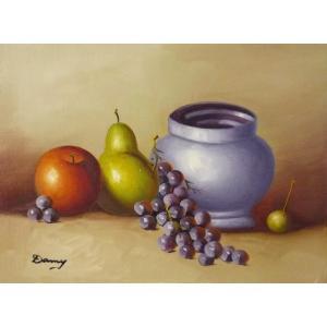 肉筆絵画 油絵 F4号 「果物静物」-34- 特価|touo
