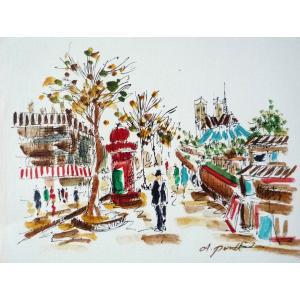 肉筆絵画 油絵 F4号 「パリの街風景」-1- 特価|touo