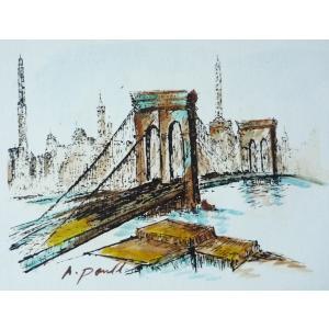 肉筆絵画 油絵 F4号 「ゴールデンゲートブリッジ」-10- 特価|touo