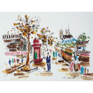 肉筆絵画 油絵 F4号 「パリの街風景」-2- 特価|touo