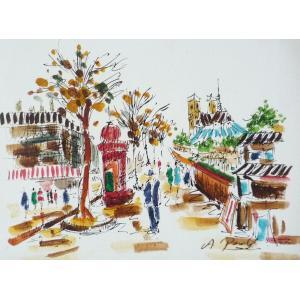 肉筆絵画 油絵 F4号 「パリの街風景」-3- 特価|touo