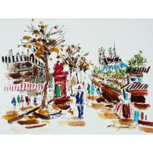 肉筆絵画 油絵 F4号 「パリの街風景」-4- 特価|touo