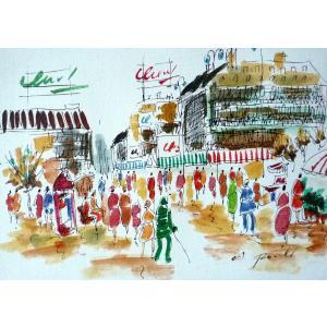 肉筆絵画 油絵 F4号 「パリの街風景」-5- 特価|touo