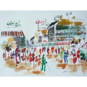肉筆絵画 油絵 F4号 「パリの街風景」-6- 特価|touo