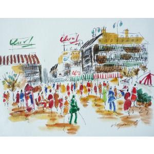 肉筆絵画 油絵 F4号 「パリの街風景」-7- 特価|touo