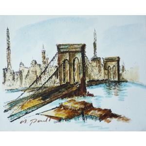 肉筆絵画 油絵 F4号 「ゴールデンゲートブリッジ」-8- 特価|touo